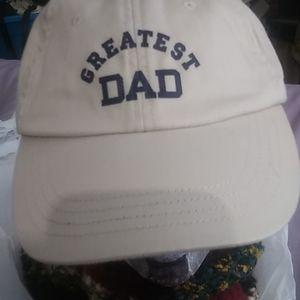 """ Greatest Dad hat"" 1 sz $28+ free white hat"